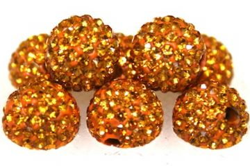 10mm Golden Brown 115 Stone Pave Crystal Beads- Half Drilled PCBHD10-115-017